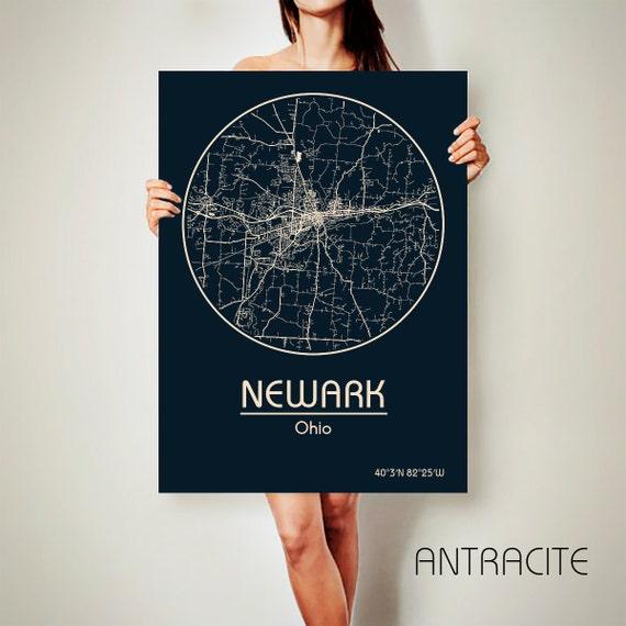 Newark Ohio Canvas Map Newark Ohio Poster City Map Newark Ohio Etsy