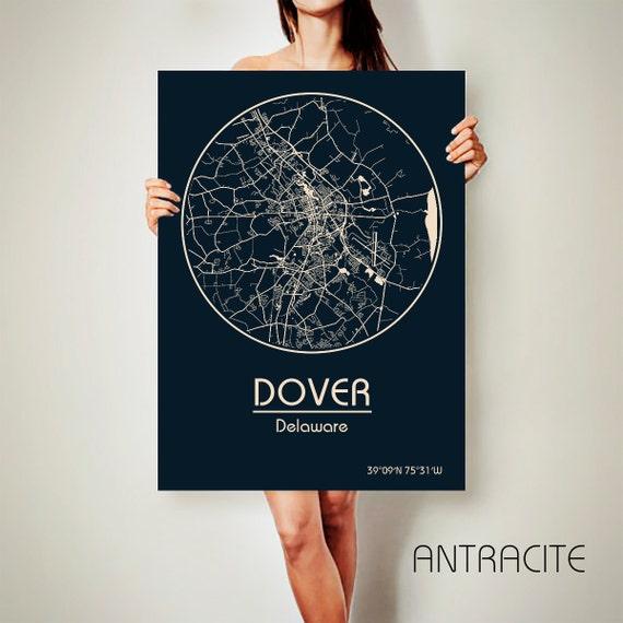 Dover De Zip Code Map.Dover Delaware Canvas Map Dover Delaware Poster City Map Dover Etsy