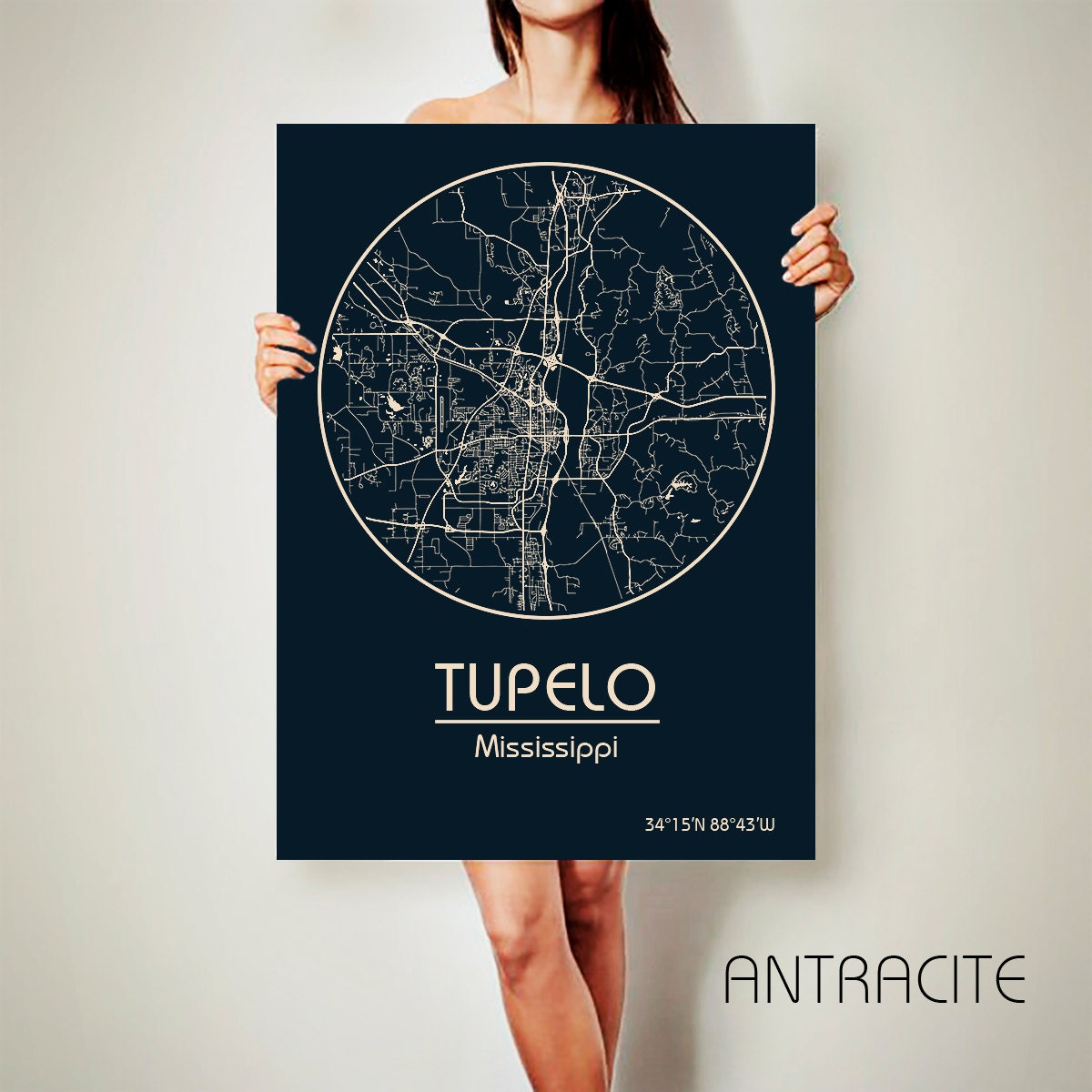 tupelo mississippi canvas map tupelo mississippi poster city etsy. Black Bedroom Furniture Sets. Home Design Ideas
