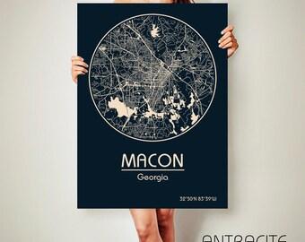 MACON Georgia CANVAS Map Macon Georgia Poster City Map Macon Georgia Art Print Macon Georgia