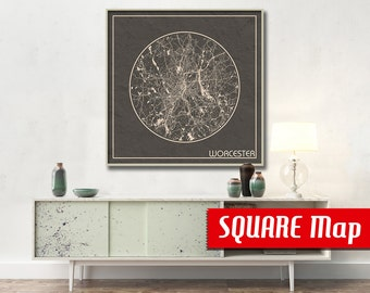 WORCESTER MA SQUARE Map Worcester Massachusetts Poster City Map Worcester Massachusetts Art Print Massachusetts poster Worcester map