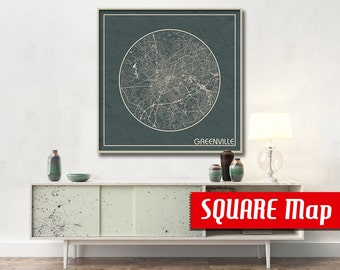 GREENVILLE SC SQUARE Map Greenville South Carolina Poster City Map Greenville South Carolina Art Print Greenville poster Greenville map