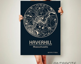 HAVERHILL Massachusetts CANVAS Map Haverhill Massachusetts Poster City Map Haverhill Massachusetts Art Print Haverhill Massachusetts