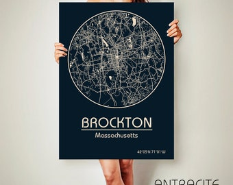 BROCKTON Massachusetts CANVAS Map Brockton Massachusetts Poster City Map Brockton Massachusetts Art Print Brockton Massachusetts