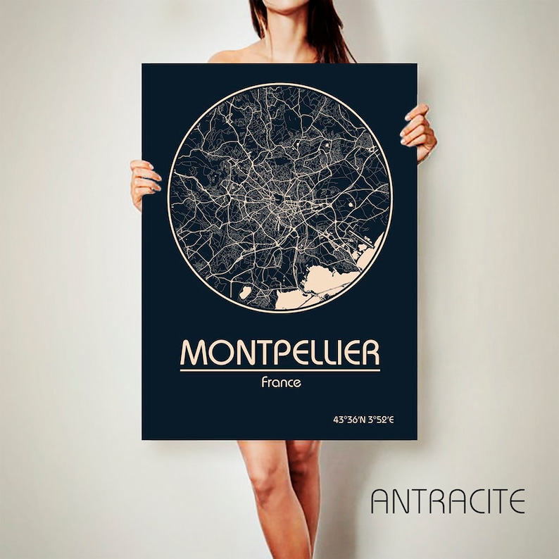 Montpellier Map Of France.Montpellier France Canvas Map Montpellier France Poster City Etsy
