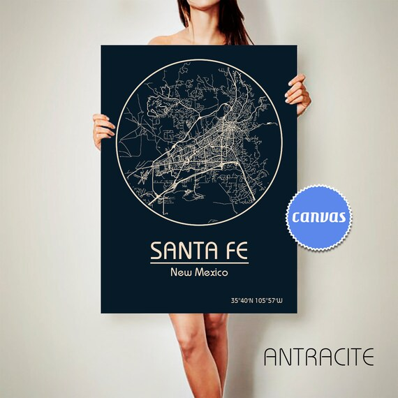 Canvas Santa Fe >> Santa Fe New Mexico Canvas Map Santa Fe New Mexico Poster City Etsy