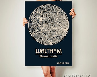 WALTHAM Massachusetts CANVAS Map Waltham Massachusetts Poster City Map Waltham Massachusetts Art Print Waltham Massachusetts