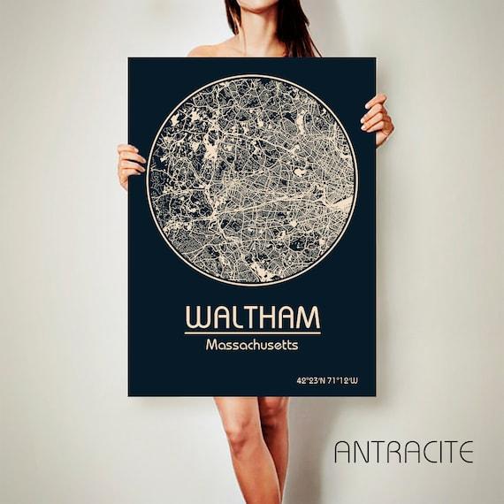 Waltham Massachusetts Canvas Map Waltham Massachusetts Poster Etsy