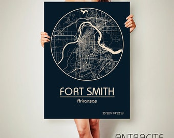 FORT Smith AR CANVAS Map Fort Smith Arkansas Poster City Map Fort Smith Arkansas Art City Fort Smith Arkansas