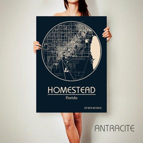 Map Homestead Florida.Homestead Florida Canvas Map Homestead Florida Poster City Map Etsy