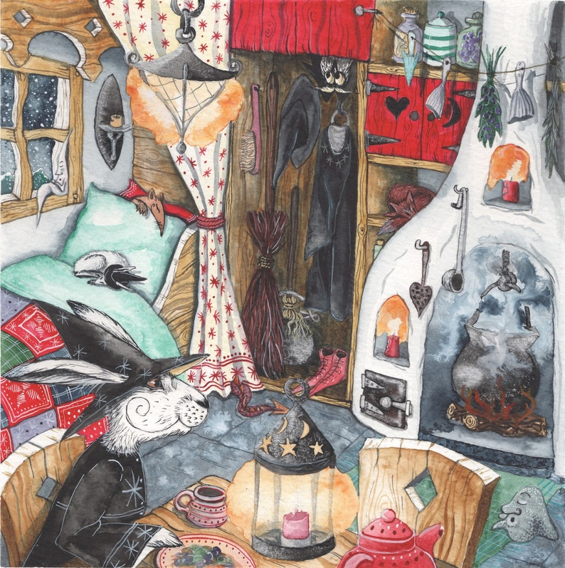 28cm square Nordic whimsical style cottage At Home With Ursula Archival Print from /'Upon a Tzorkly Moon/' Valentine cosy hygge hare