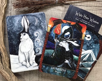 Oracle Deck - White Hare Wisdom by Jacqui & Phil Lovesey - tarot type cards, arctic hare, mindfulness, witch, pagan