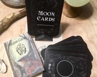 Altar Cards - Moon Phase -  by Jacqui Lovesey with illustrations from - The League of Lid-Curving Witchery - Moon Phase tarot type cards.