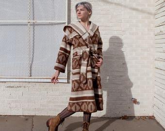 70s Wool Long Coat // 70s Belted Coat // Vintage Wool Coat // Junior Gallery // Ikat Coat // Lebowski Robe Coat