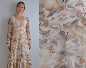 70s Gunne Sax Dress // Bird Cloud Japanese Print // Vintage Gunne Sax Dress // 70s Hippie Dress // Cherry Blossom