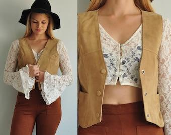 Vintage Leather Vest // Vintage Suede Vest // Western Vest // Snap Button // Tan Beige // Boho Vest // Medium
