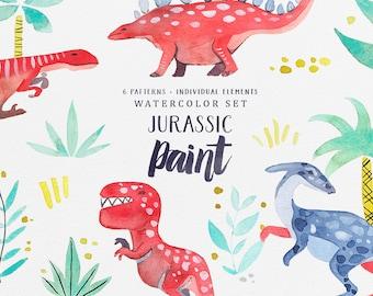 Jurassic Paint - Watercolor Dinosaurs, Dinosaur Illustration, Seamless Pattern, Dinosaur Pattern, PNG, Watercolor Clipart, Instant Download