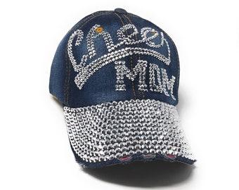 Distressed Denim Cheer Mom Baseball Caps 38e08adfb842