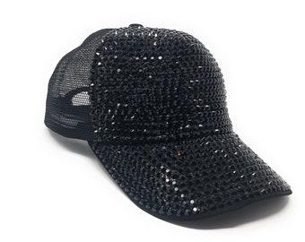 7d49f0ace48 Rhinestones Mesh Baseball Cap, Bling Hat, Adjustable Hat, Rhinestone Bling  Hat, Mesh back Trucker Baseball Cap, Black Baseball Cap