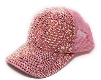 79e6339b11e Rhinestones Mesh Baseball Cap, Adjustable Hat, Rhinestone Bling Hat, Mesh  Back Trucker Baseball Cap, Pink Baseball Cap for Girls