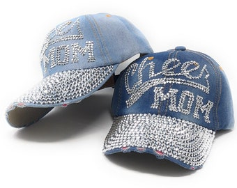 f801f2031fb163 Distressed Denim Cheer Mom Baseball Caps, Rhinestones Embellished Baseball  Cap, Bling Adjustable Hat, Baseball Hat for Girls, Sun Shade