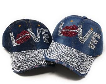 c5b9de5bb2a2d3 Baseball Caps for Girls, Rhinestones Embellished Baseball Cap, Women Bling  Hat, Love Word Crystal Cap, Distressed Denim Cap for Girls