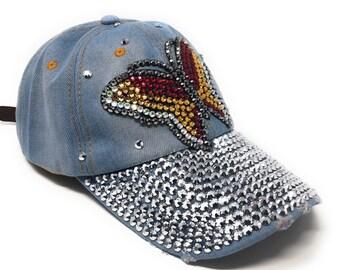 5f6bfb71eebcd6 Distressed Denim Summer Caps, Rhinestones Embellished Baseball Cap , Women  Bling Adjustable Hat, Butterfly Cap, Baseball Hat for Girls