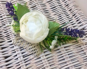 Ivory Peony Cabbage Rose Flower Bridal Hair Comb with Artificial Lavender, Ferns, Eucalytus, Gypsophila | Hair Accessory | Wedding