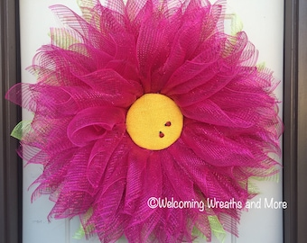 Pink Flower Wreath, Flower Wreath, Summer Wreath, Flower Wreath, Pink Flower Wreath, Daisy Door Wreath, Spring Wreath, Mother's Day Gift