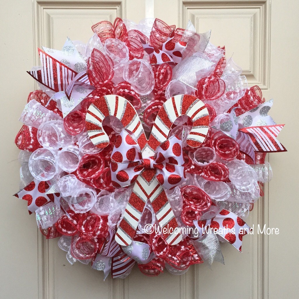 Candy Cane Wreath Christmas Wreath Candy Cane Mesh Wreath Etsy