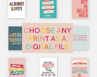 Any of Our Single Designs as a Digital Download / Print at Home / Colourful Wall Art Prints / Quotes / Wall Art / A4 Print / 10x8 Quote