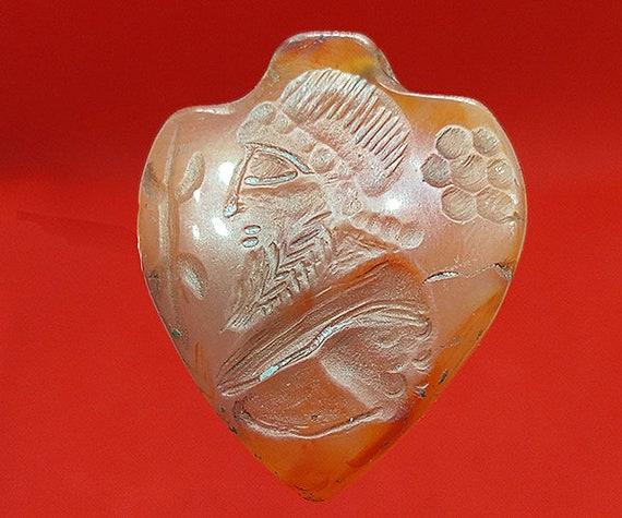 Near Eastern Old Crystal Rock Stone Intaglio Arab Turban Stamp Seal Wax Dome Bead BE637