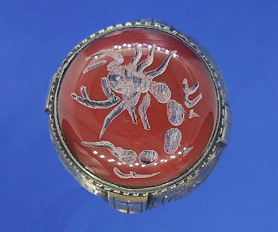 Scorpio Zodiac Ring, Signet Ring, Attractive Afgha