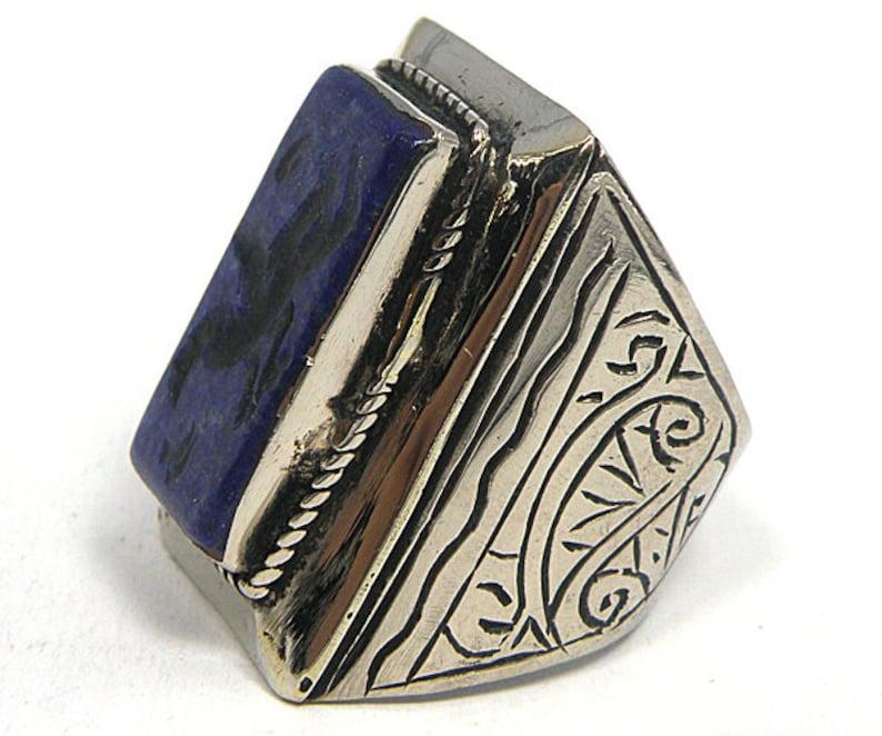 Afghan Lapis Lazuli Blue Stone Intaglio Phoenix Silver Band Ring Unisex Size 11 Us RSA08