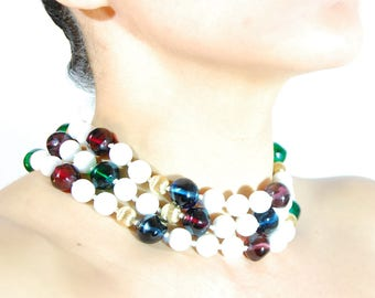 Vintage Triple Strand Multi Colored Glass Bead Cabochon Collier Necklace