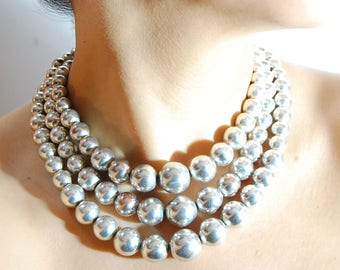 Vintage Sterling Silver Bead Choker Collier Necklace