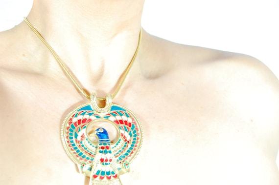 Vintage Colorful Golden Egyptian Eagle Motif Penda