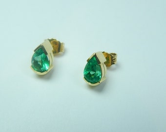 d662d6949 2.45 CTW Pear Shape Colombian Emerald Stud Earrings set in 18K Gold