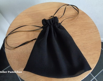 black CHIFFON drawstring dice bag two sizes for dice make up coins jewelry D/&D Tabletop RPG by AtelierPastelchan