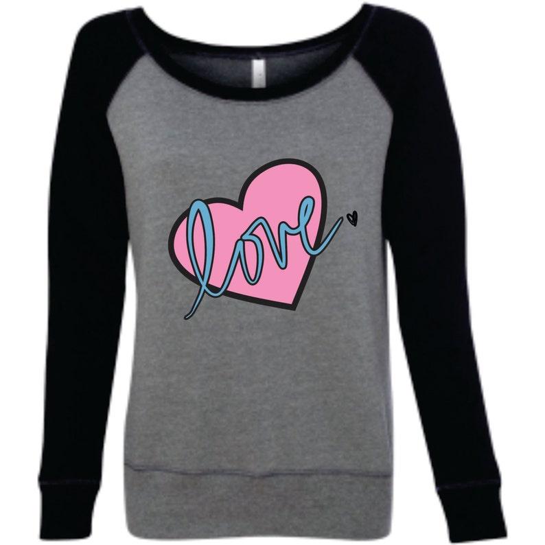 bc6292dbcfaf4d Heart Love Off Shoulder Sweatshirt