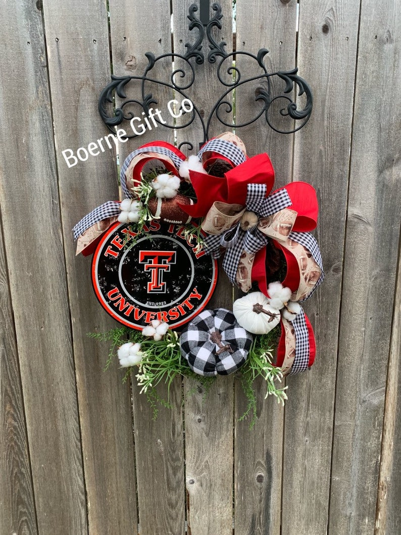 Texas Tech Red Raider Football Wreath Sports Wreath Front Etsy