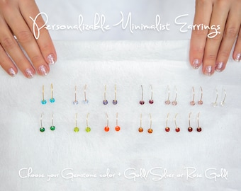 Modern Birthstone Earrings for Women, Tiny Glass Drop Earrings, Minimalist Earrings, Dainty Drop Earrings, Small Gift for Women