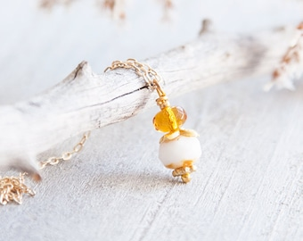 Dainty necklace, Small necklace, Tiny charm necklace, Amber pendant, Cute Necklace for Women, Unique Gift, Simple Necklace for Girls
