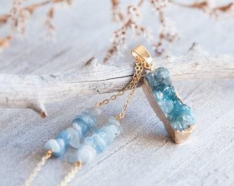 Druzy Necklace, Boho Druzy Necklace, Blue Agate Necklace, Blue Druzy Agate Necklace, Boho Luxe, Long Boho Necklace Boho Statement Necklace