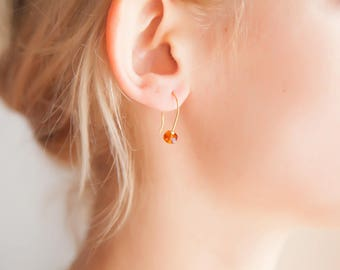 Tiny Topaz Earrings, November Birthstone Earrings, Novembers Birthstone Topaz Jewelry, Orange Topaz Earrings, Golden Topaz Jewelry, Topaz