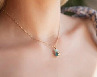 Aquamarine Pendant, Tiny Aquamarine Pendant, Aquamarine Necklace, Aquamarine Sea Glass Pendant, Sea Glass Necklace, Boho Necklace