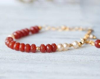 Carnelian Bracelet, Gold Carnelian and Pearl Bracelet, Boho Chic Bracelet, Red Beaded Bracelet, Cute Charm Bracelet, Red Gemstone Bracelet