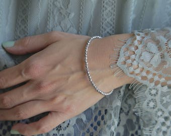 Silver Beaded Bracelet, Silver Bracelet, Thin Bracelet, Gemstone Stacking Bracelet, Silver Bead Bracelet, Minimalist Jewelry