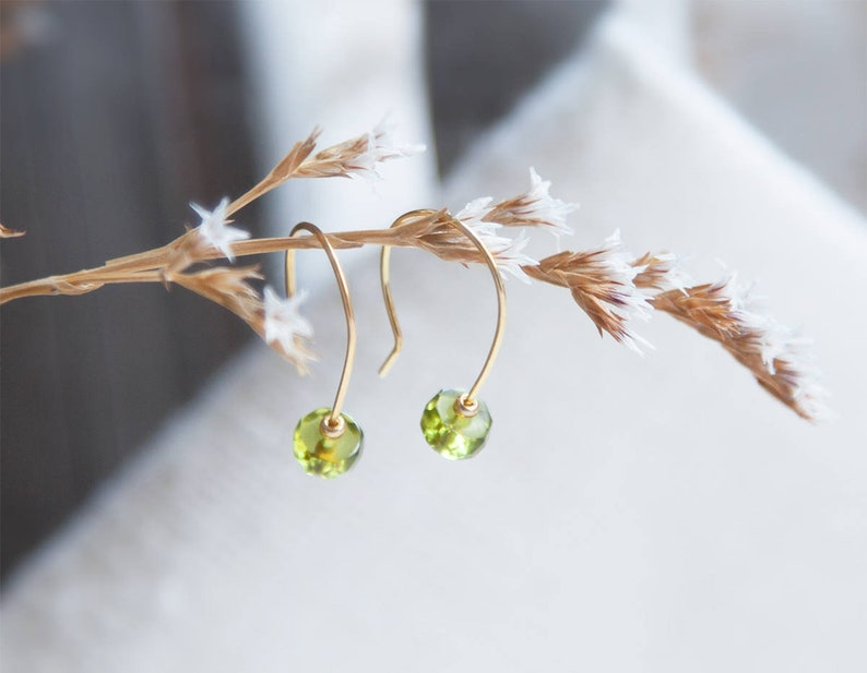 Tiny Peridot Earrings Modern Green and Gold Earrings August image 0