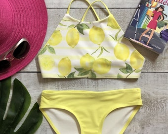 bc67a092e00 Girls Swimwear reversible Two Piece Set ~ Swimsuit ~ LEMON ~ Bathing Suit  ~Halter top Bottom Kids Swimwear~Size 4 to 16